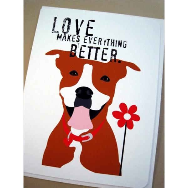 Pit Bull Love with Flower Note Cards